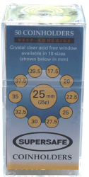 Supersafe Self Adhesive 2x2 Holders -- 25mm (Quarters)