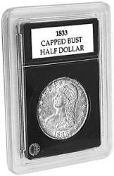 HALF $ 1 AIRTITE COIN HOLDER CAPSULE BLACK RING 30 MM HALF DOLLAR 50 CENTS