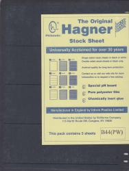 Hagner Stock Sheets -- Double Sided, 4 Row -- Pack of 5 -- Black