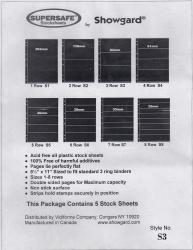 Showgard Supersafe Stock Sheets -- 3 Row