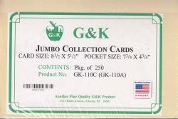 G&K Jumbo Dealer Cards (110A) -- 8 1/2 x 5 1/2 -- Manilla