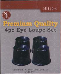 SE Premium Quality 4 Piece Eye Loupe Set, 2.5X-10X