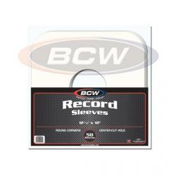 BCW 33 RPM Record Sleeves -- Paper -- Round Corner With Hole -- Pack of 50