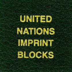 Scott National Series Green Binder Label: UN Imprint Blocks