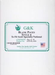 G&K Blank Pages -- Style B -- Scott Specialty/National Albums