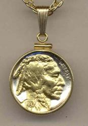 Gold on Silver Buffalo Nickel (Obv) Necklace