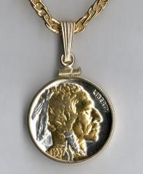 Gold and Silver on Silver Buffalo Nickel (Obv) Necklace