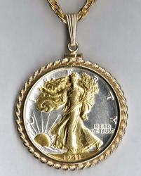 Gold on Silver Walking Liberty Half Dollar (Obv) Necklace