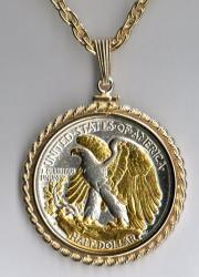 Gold and Silver on Silver Walking Liberty Half Dollar (Rev) Necklace