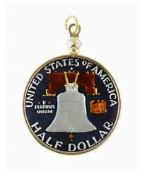 Hand Painted Franklin Half Dollar Pendant
