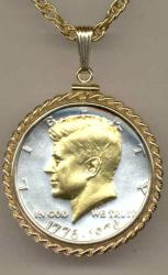 Gold on Silver Kennedy Half Dollar (Obv) Necklace