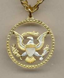 Gold on Silver Kennedy Half Dollar (Eagle and Stars) Cut Coin Necklace