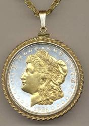 Gold on Silver Morgan Dollar (Obv) Necklace