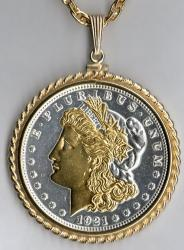 Gold and Silver on Silver Morgan Dollar (Obv) Necklace
