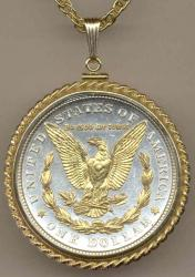 Gold on Silver Morgan Dollar (Rev) Necklace
