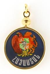 Hand Painted Armenia 1 Dram Eagle & Lion Pendant