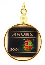 Hand Painted Aruba 5 Cents (Square) Pendant