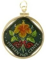 Hand Painted Bahamas 15 Cent Hibiscus Pendant