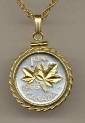 Gold on Silver Canada 1 Cent Maple Leaf Necklace