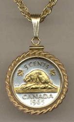 Gold on Silver Canada 5 Cent Beaver Necklace