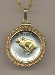 Gold on Silver Canada 5 Cent Rabbit Necklace
