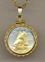 Gold on Silver Canada 10 Cent Bluenose Necklace