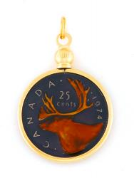 Hand Painted Canada 25 Cent Moose Pendant