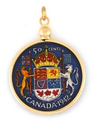 Hand Painted Canada 50 Cent Crest Lion and Unicorn Pendant