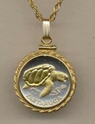 Gold on Silver Cape Verde 1 Escudos Sea Turtle Necklace