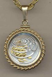 Gold on Silver Cayman Islands 10 Cent Sea Turtle Necklace