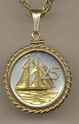 Gold on Silver Cayman Islands 25 Cent Sail Boat Necklace