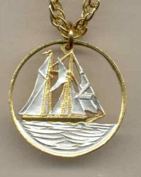Gold on Silver Cayman Islands 25 Cent Sail Boat Cut Coin Necklace