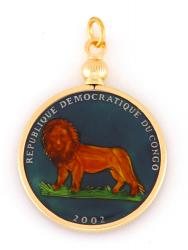 Hand Painted Congo 50 Centimos Lion Pendant