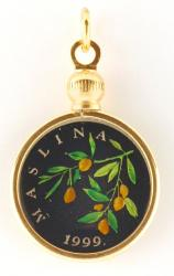 Hand Painted Croatia 20 Lipas Olive Branch Pendant
