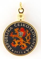 Hand Painted Czech Republic 1 Koruna Lion Pendant