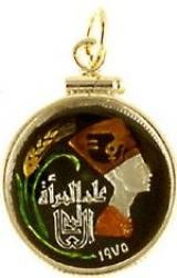 Hand Painted Egypt 5 Millieme Queen Nefertiti Pendant