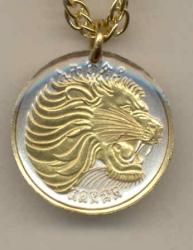 Gold on Silver Ethiopia 10 Cent Lion Necklace