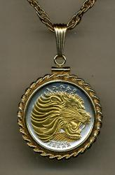 Gold on Silver Ethiopia 25 Cent Lion Necklace