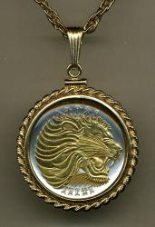 Gold on Silver Ethiopia 50 Cent Lion Necklace