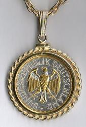 Gold and Silver on Silver Germany 1 Mark Eagle Necklace