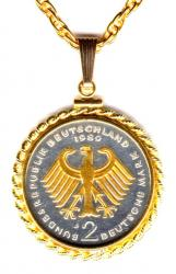Gold on Silver Germany 2 Mark Eagle Necklace