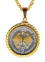 Gold and Silver on Silver Germany 2 Mark Eagle Necklace