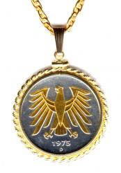 Gold on Silver Germany 5 Mark Eagle Necklace