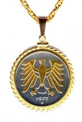 Gold and Silver on Silver Germany 5 Mark Eagle Necklace