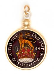 Hand Painted British 1 Shilling Lion on Crown Pendant