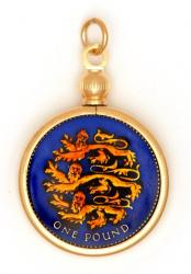 Hand Painted British 1 Pound Lions Pendant