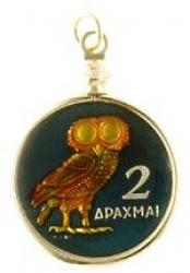 Hand Painted Greece 1 Drachma Owl Pendant