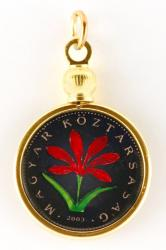 Hand Painted Hungary 2 Forint Colchicum Flower Pendant