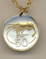 Gold on Silver Iceland 50 Aurar Shrimp Necklace