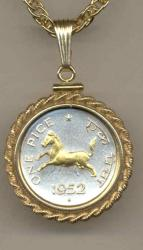 Gold on Silver India 1 Pice Horse Necklace